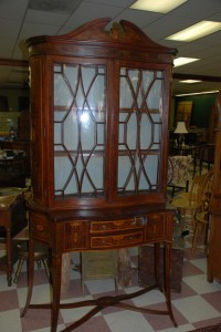 antique china cabinet , inlaid mahogany splay leg cabinet at charlies antiques in williamsburg va